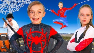 Spiderman Vs Sneaky Villain!  Superhero Showdown to get Powers Back!