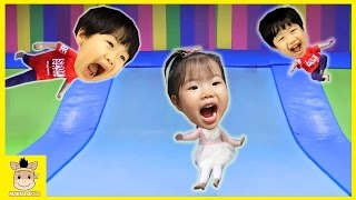 Indoor Playground Fun for Kids Finger Family Song Play Slide Rainbow Colors Jump | MariAndKids Toys