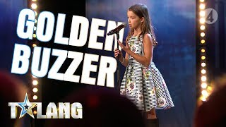 10 year old Eva mesmerizes everyone with a performance that earns her a Golden Buzzer