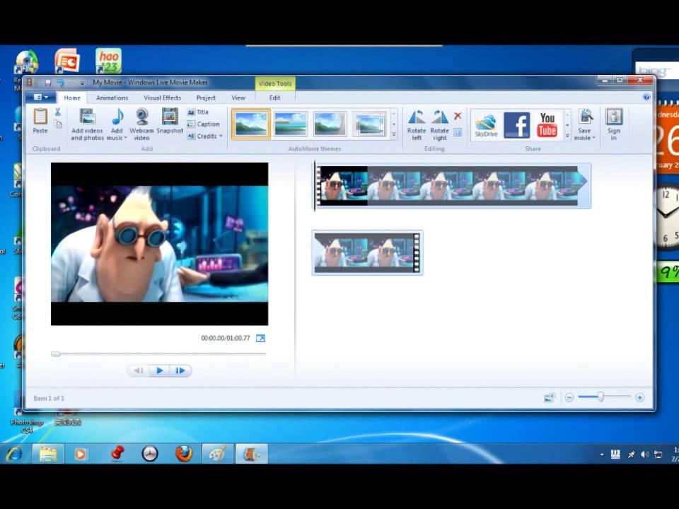 Crop videos in windows movie maker