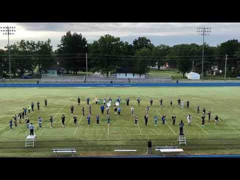 Neodesha High School Marching Band practicing for the foot ball game