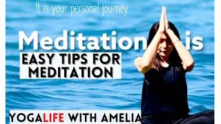 EASY TIPS FOR MEDITATION. 5 min MEDITATION to REDUCE STRESS. BEGINNER YOGA. YOGALIFE WITH AMELIA.
