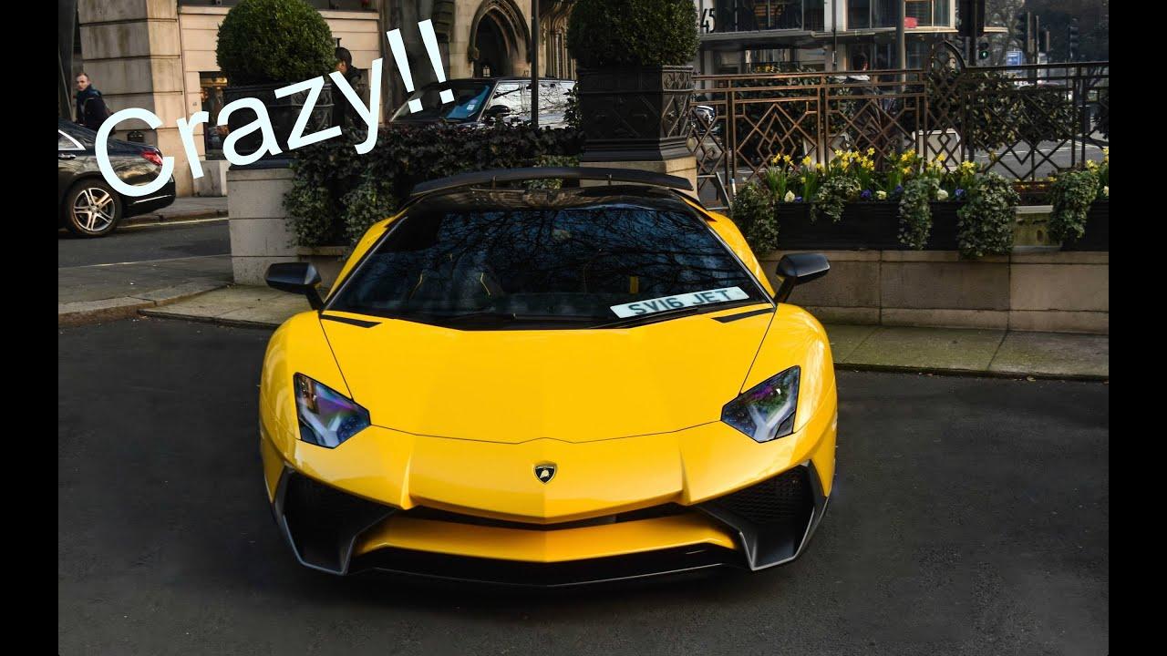 lamborghini aventador sv roadster start up and loud acceleration in london youtube