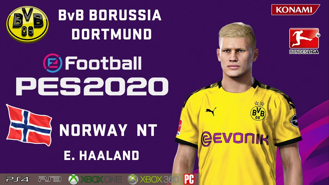 E Haaland Face Stats Bvb Borussia Dortmund Norway Nt How To Create In Pes 2020 Youtube