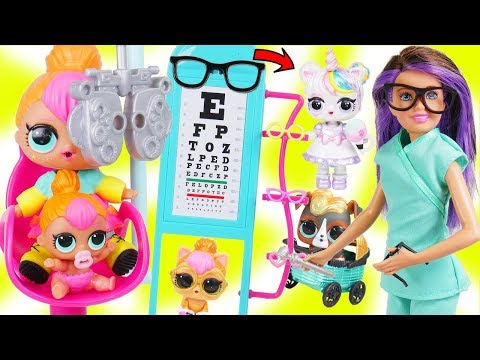 Custom LOL Surprise Dolls Visit Skipper Barbie Eye Doctor with Unicorn Lil Luxe + BIG Customized DIY