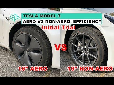 Tesla Model 3 - Aero vs Non Aero Efficiency - Initial Trial