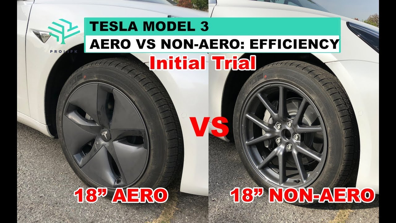Tesla Model 3 Aero Vs Non Efficiency Initial Trial