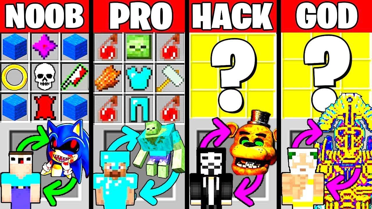 Minecraft Battle: HOW TO PLAY CRAFTING CHALLENGE - NOOB vs PRO vs HACKER vs GOD ~ Funny Animation