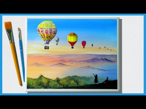 Balloons at Sunset 🎨 Acrylic Painting for Beginners / Landscape Painting Tutorial / Painting ASMR