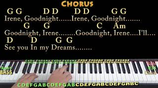 Goodnight, Irene (Traditional) Piano Cover Lesson in G with Chords/Lyrics