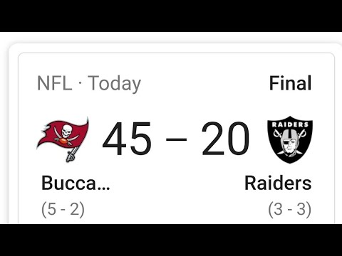Las Vegas Raiders Lose Big Against Tom Brady's Buccaneers 45 - 20 My Thoughts By Joseph Armendariz