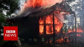 Rohingya Muslims respond to claims they set fire to their homes - BBC News