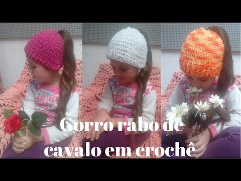 10d22d952a82c 93 Gorro em Crochê para Rabo de Cavalo - YouTube
