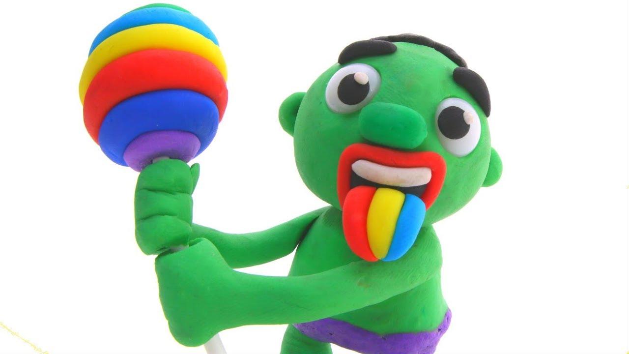 HULK HAS A RAINBOW LOLLIPOP & A RAINBOW TONGUE ❤ Hulk & Frozen Elsa PlayDoh Cartoons For Kids