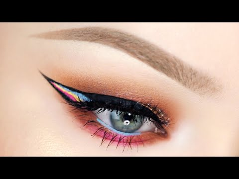 Glittery Peach Summer Eyes with RAINBOW Liner!