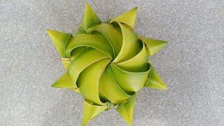 Cách làm hoa hướng Dương bằng lá dừa đẹp  (c3)
