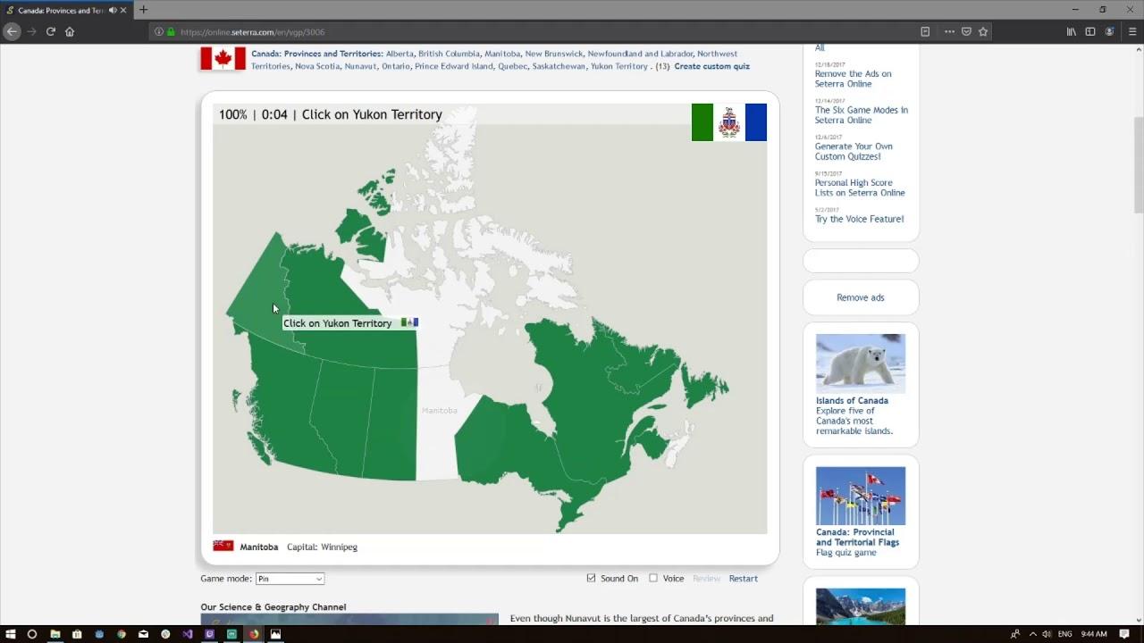 Map Of Canada Online Quiz.Seterra Map Quiz Canada Provinces And Territories 100 Pin 0 09