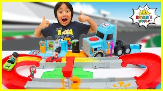 Ryan's World Giant Truck Toy Car Race Track!!!