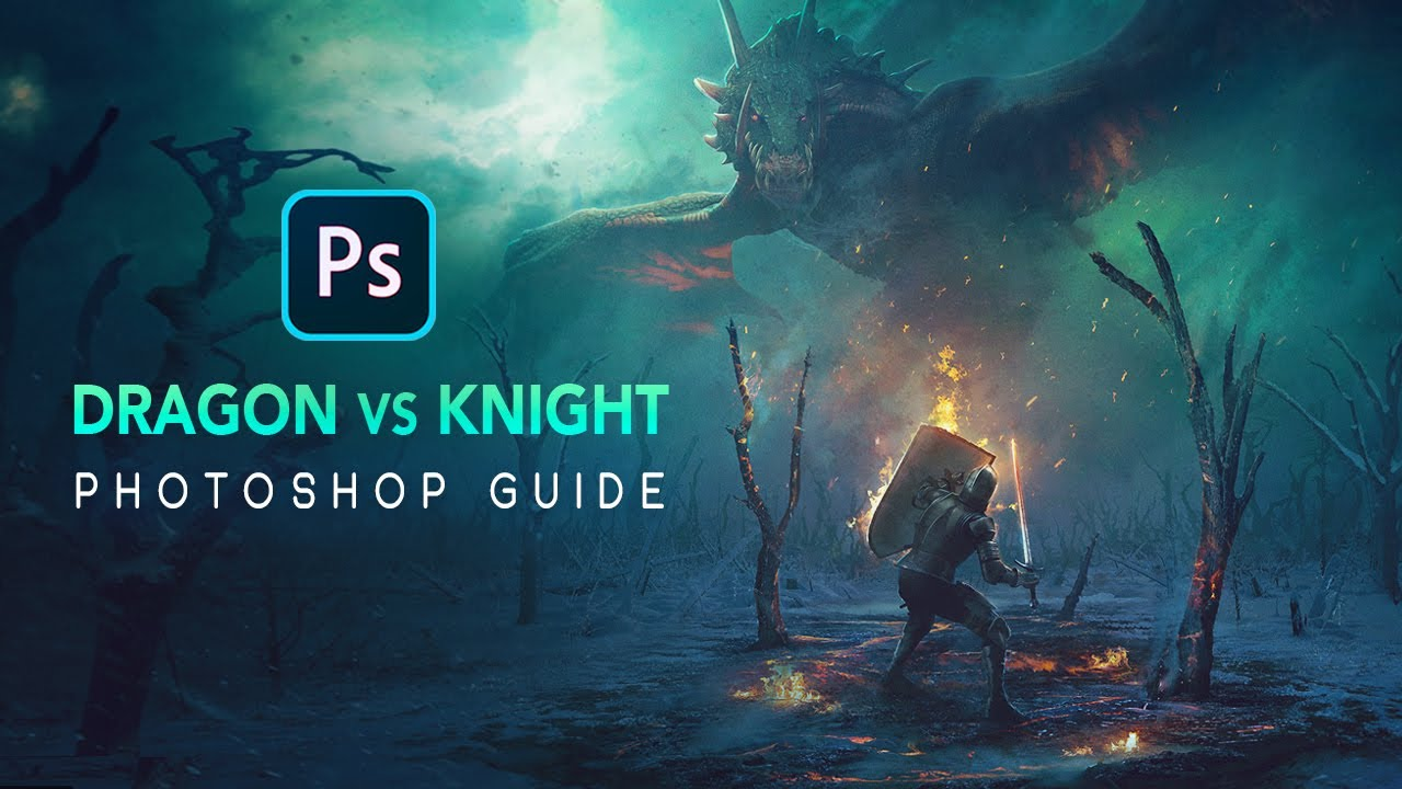 Dragon VS Knight! PHOTOSHOP Tutorial - GuideRunner EP4