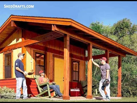 16x16 Large Garden Shed Building Plans Blueprints For A Yard Shed With Porch