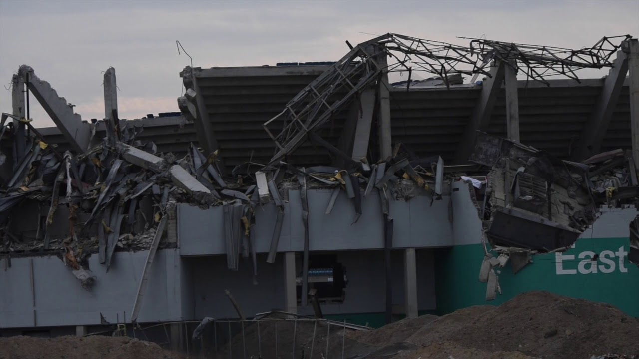 Pontiac Silverdome after successful partial implosion