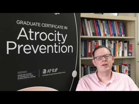 Dr Phil Orchard discussing the Grad Certificate in Atrocity Prevention