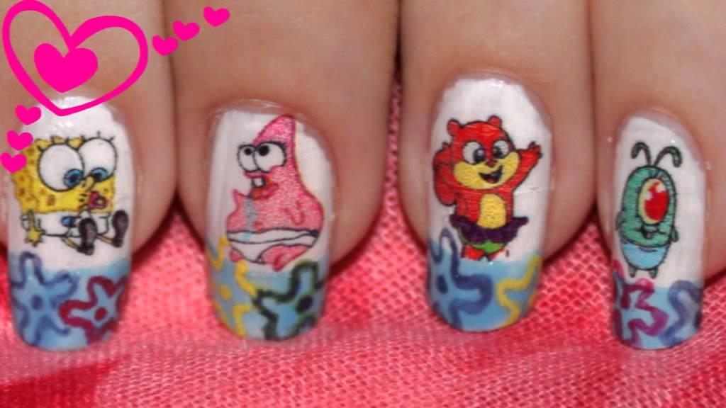 Nail Design Baby SpongeBob Baby Patrik Baby Sandy Home Made - Spongebob nail decals