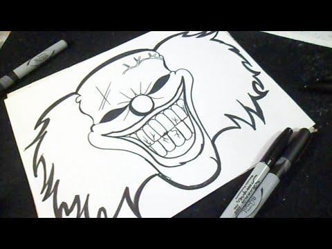 как рисовать клоун  граффити