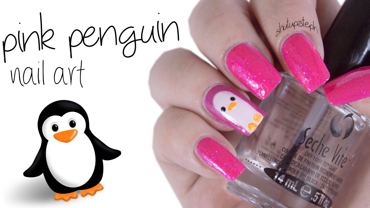 easy pretty pink penguin nail art
