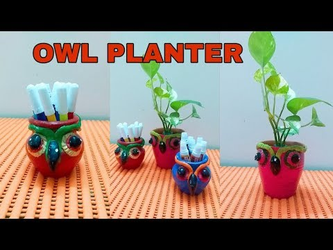 Owl Planter - DIY Decorative Pots - Clay Art Ideas