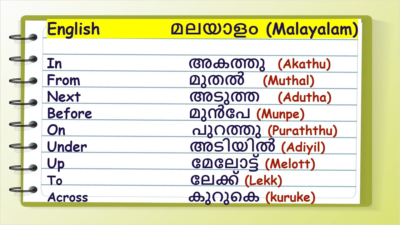 Prepositions and Expressions in English and Malayalam   English Malayalam Dictionary   - YouTube