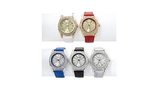 Manhattan By Croton Set Of 5 Crystal Bezel Watches