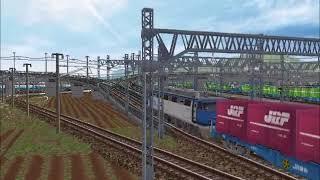 新VRM3★リバシループ貨物レイアウト完成ーEF200コンテナ23両編成