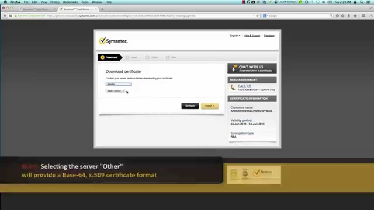 Support tutorials download an ssl certificate from symantec trust support tutorials download an ssl certificate from symantec trust center youtube xflitez Image collections