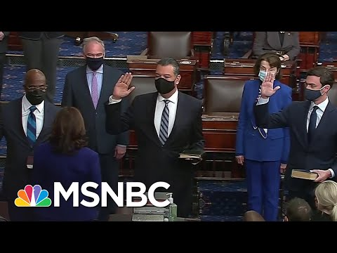 Kamala Harris Swears In Padilla, Ossoff And Warnock, Officially Giving Dems Senate Control | MSNBC