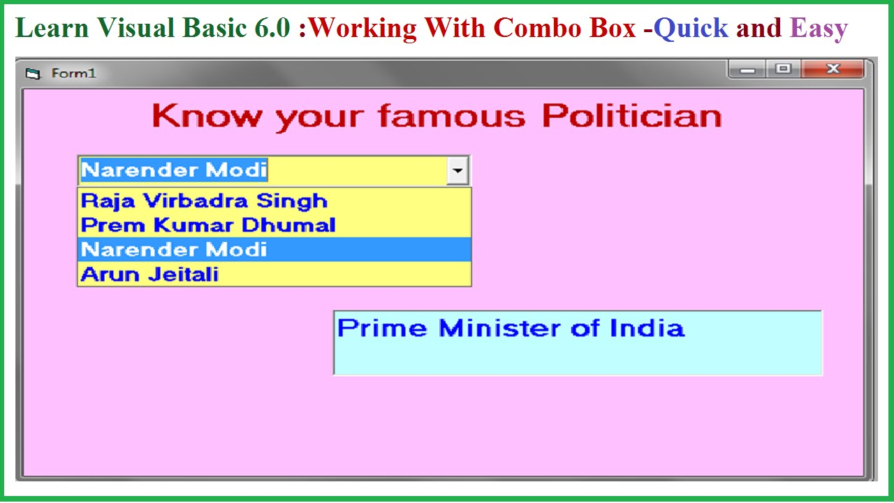 Learn Visual Basic 6 0- Working with Combo Box and its properties-Quick and  easy