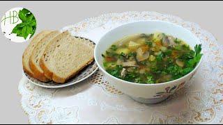 Суп с замороженными грибами. Обед на скорую руку.