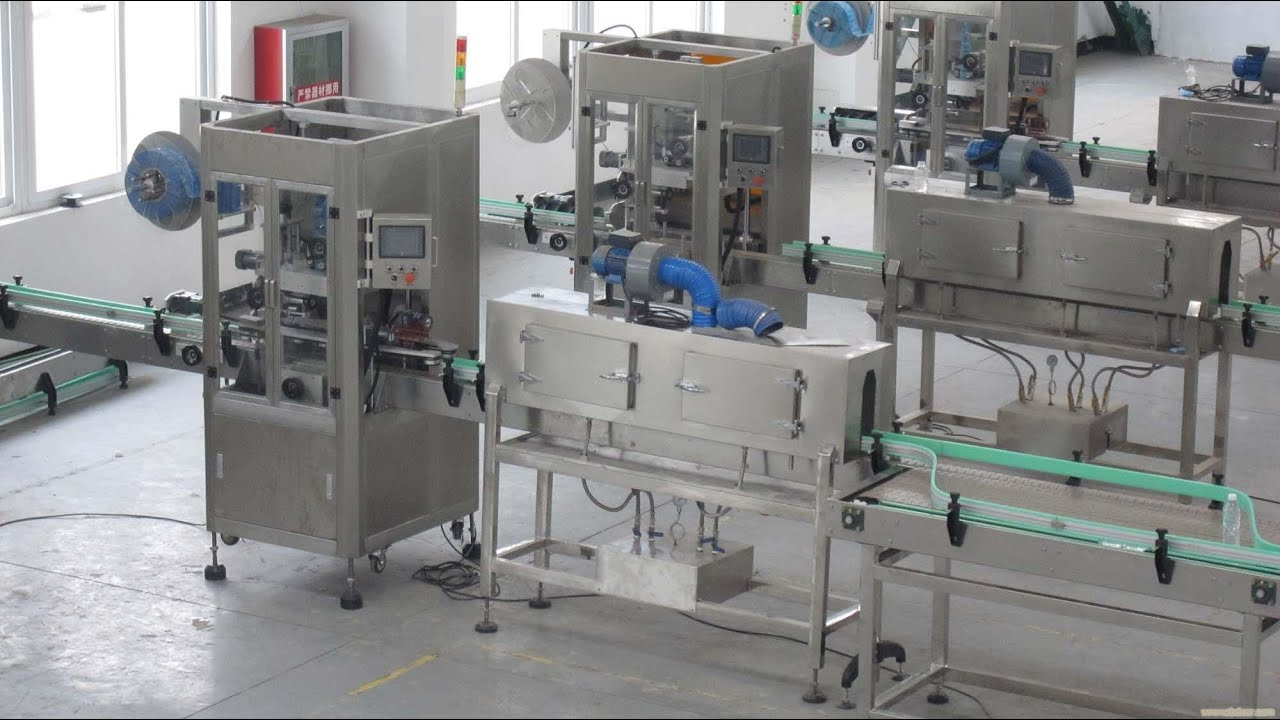 double heads auto shrink sleeve labeling machine with label