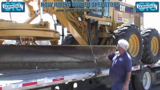 Proper securement of CAT 140H Road Grader | Sammons Trucking