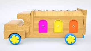 wooden truck toy for kids Colors with wild animals for kids