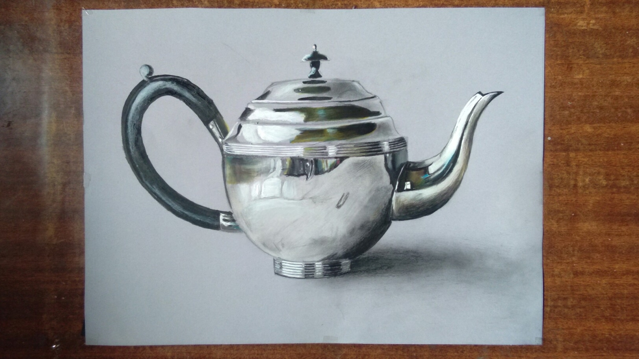 teapot drawing steel realistic