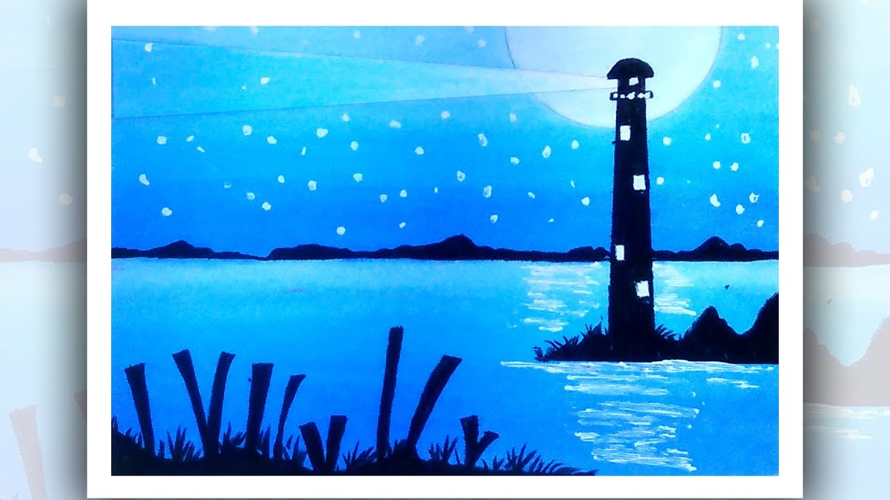 Easy Drawing For Beginners With Oil Pastel How To Draw Lighthouse Youtube