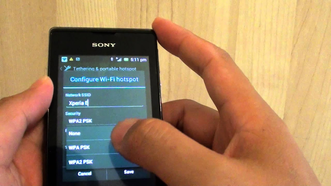 Sony Xperia E How to Set a Password to the Wi Fi Hotspot