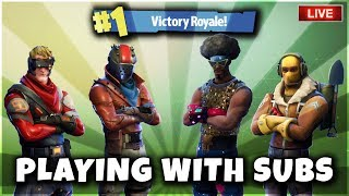 Fortnite Battle Royale Playing With Subs! 576 Current Wins! New Leaked Skins! Tilted Towers Meteor?