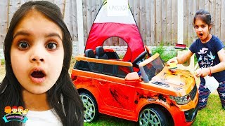 Car Wash Playing with Cleaning Toys Ashu and Cutie | Katy Cutie Show