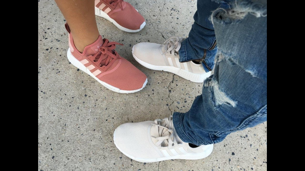 Women 's Adidas NMD Raw Pink Rose Salmon White S76006 Size 5.5