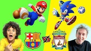 BARCELONA vs LIVERPOOL (Mario Sonic Calcio) *GAMEPLAY CHAMPIONS*