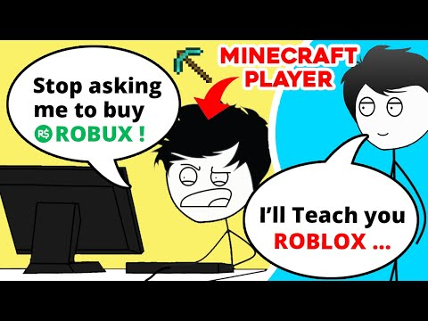 When a Minecraft Gamer plays ROBLOX | Minecraft vs Roblox