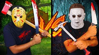 Jason Voorhees Vs Michael Myers (Horror Movie WEAPONS In Real Life)