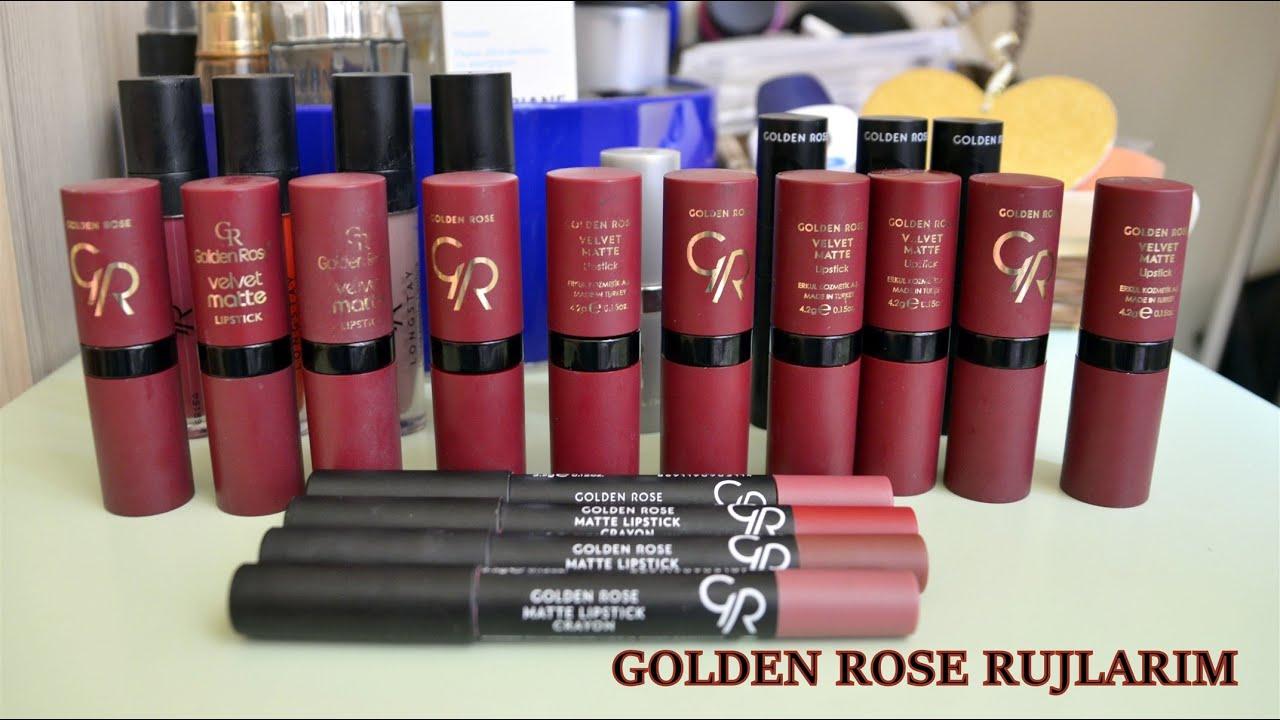 Makyaj Koleksiyonum 4 Rujlar Golden Rose Youtube
